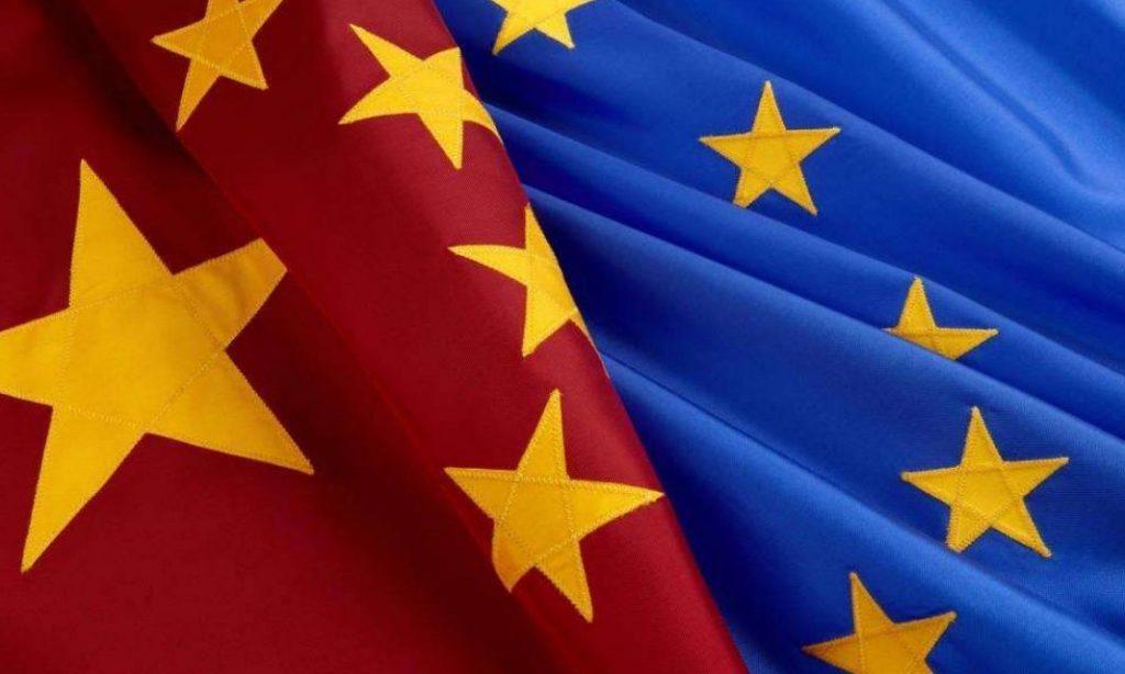 China Eu flags